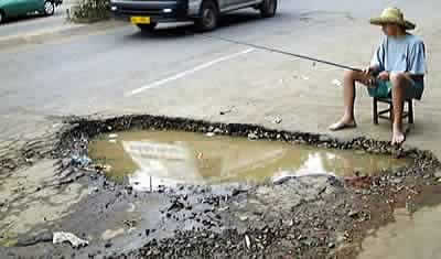Fishing in a pothole