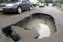 Large pothole in road