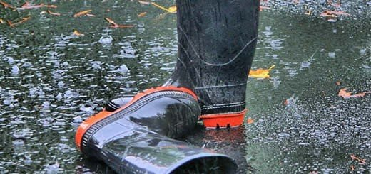 rubber boots in rain