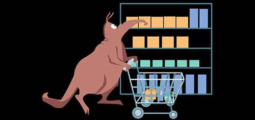 grocery shopping cartoon
