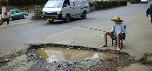 large potholes