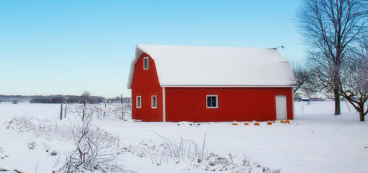 Winter Snow Covered Barn On Farm
