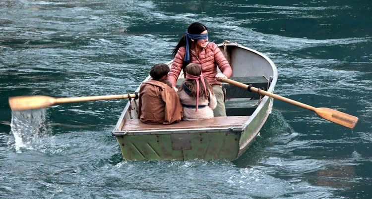 Bird Box Movie Review Floating Down River Blind Folded
